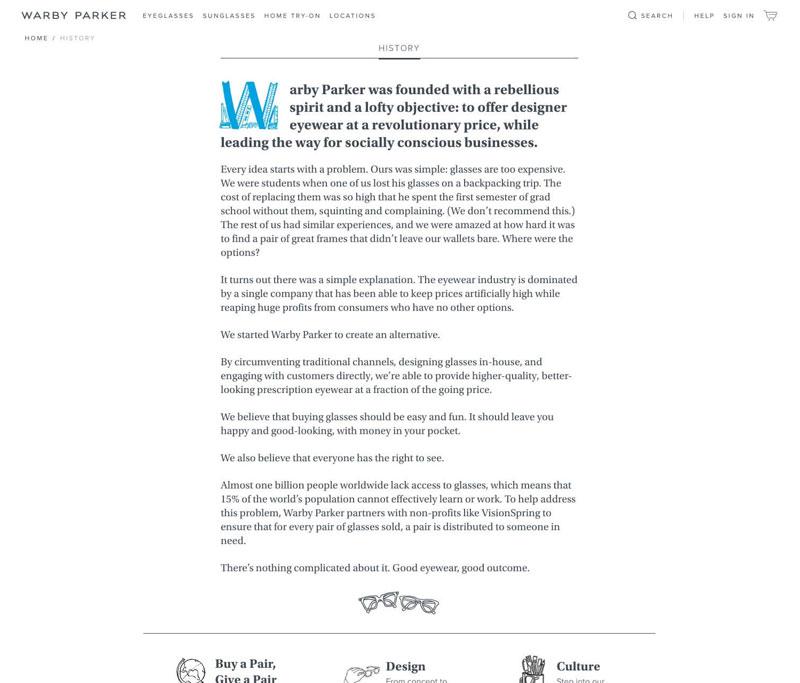 Warby Parker网站的关于我们页面